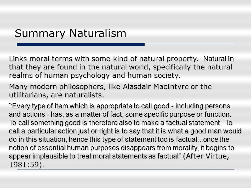 Summary Naturalism