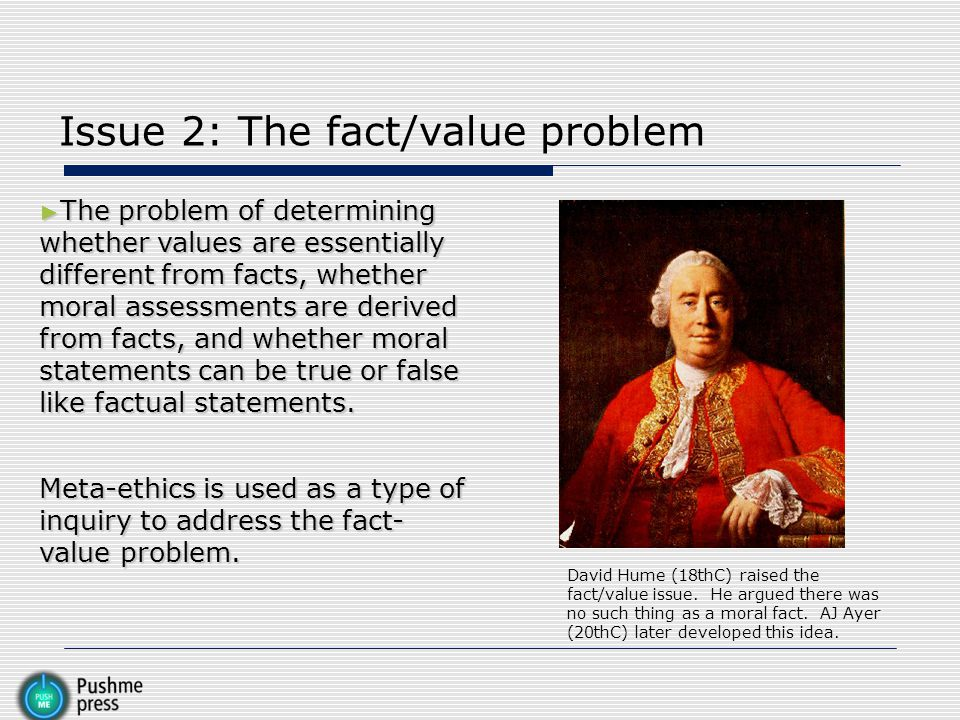 Issue 2: The fact/value problem