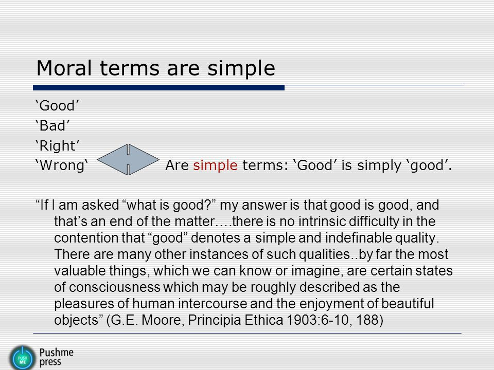 Moral terms are simple 'Good' 'Bad' 'Right'