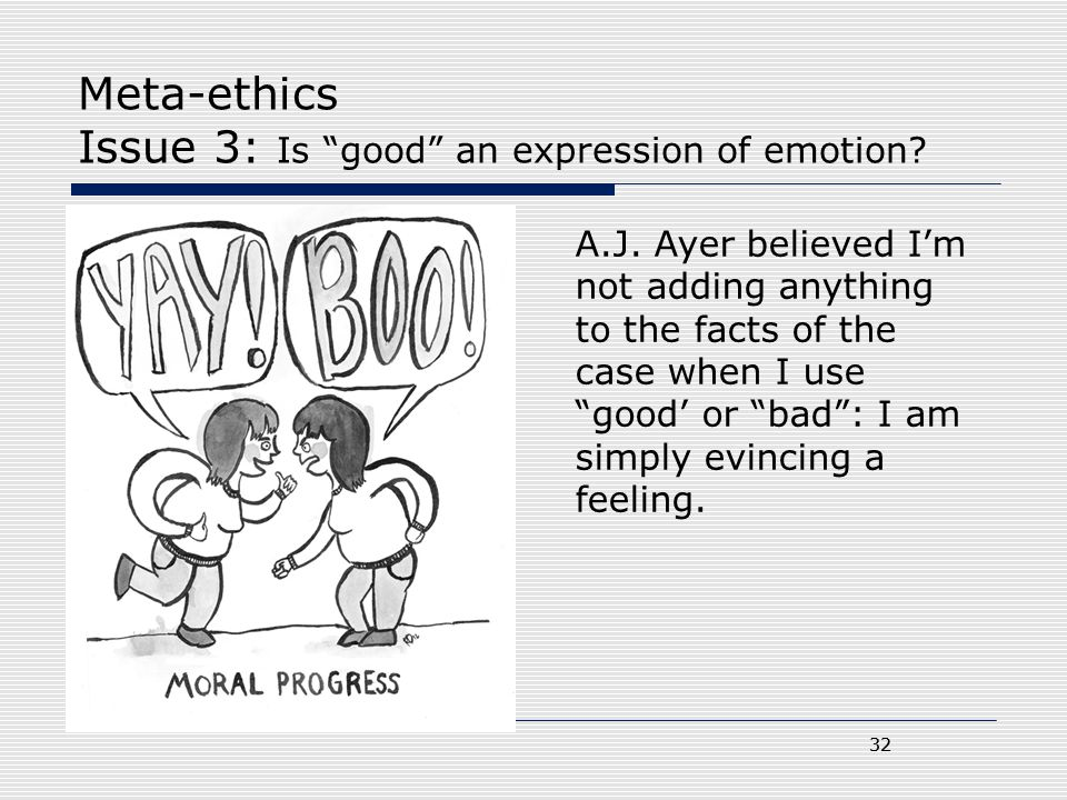 Meta-ethics Issue 3: Is good an expression of emotion