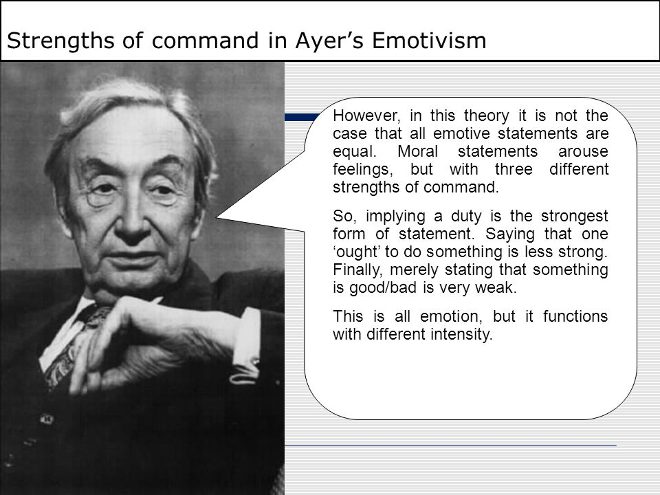 Strengths of command in Ayer's Emotivism
