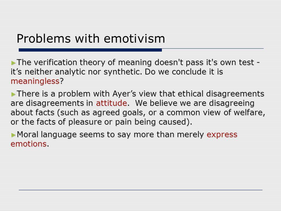 Problems with emotivism