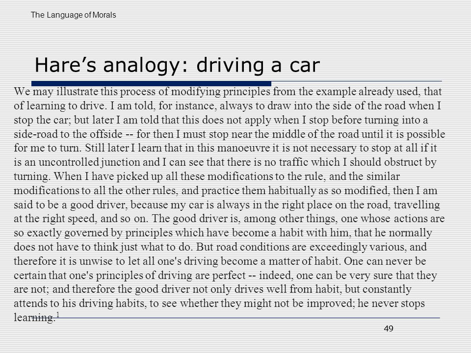 Hare's analogy: driving a car