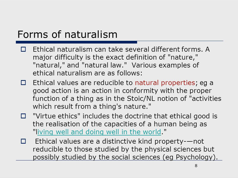 Forms of naturalism