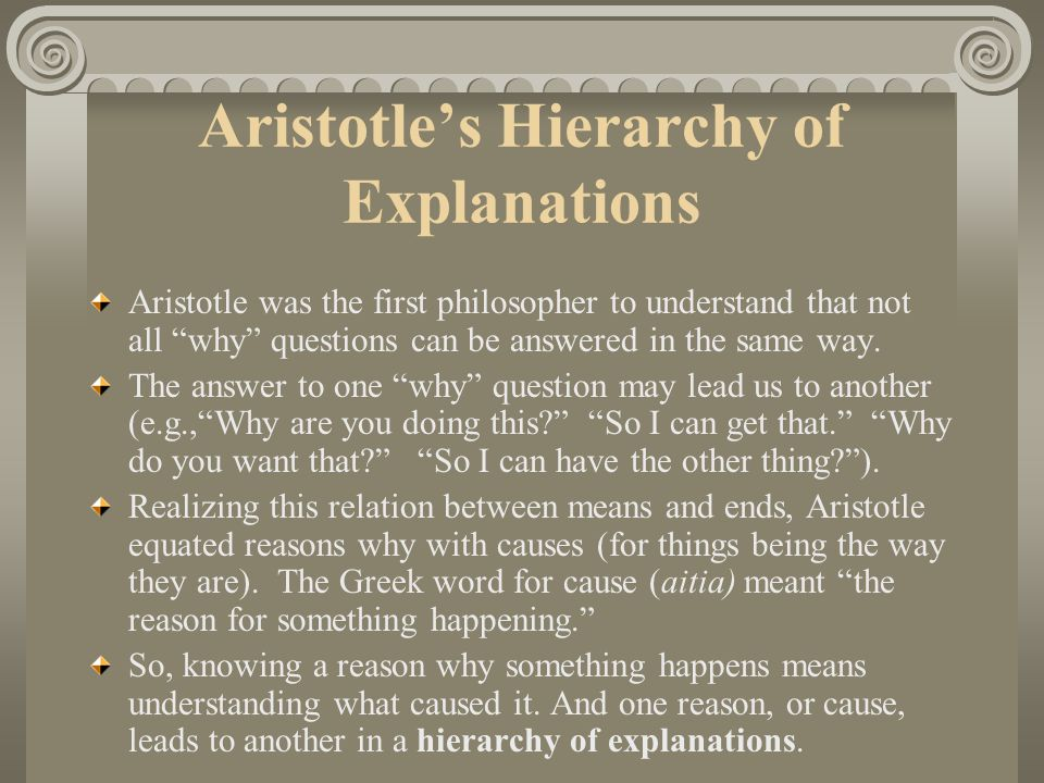 Aristotle's Hierarchy of Explanations