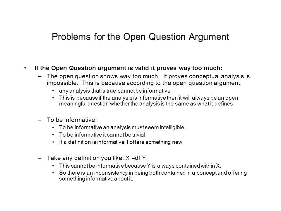 Problems for the Open Question Argument