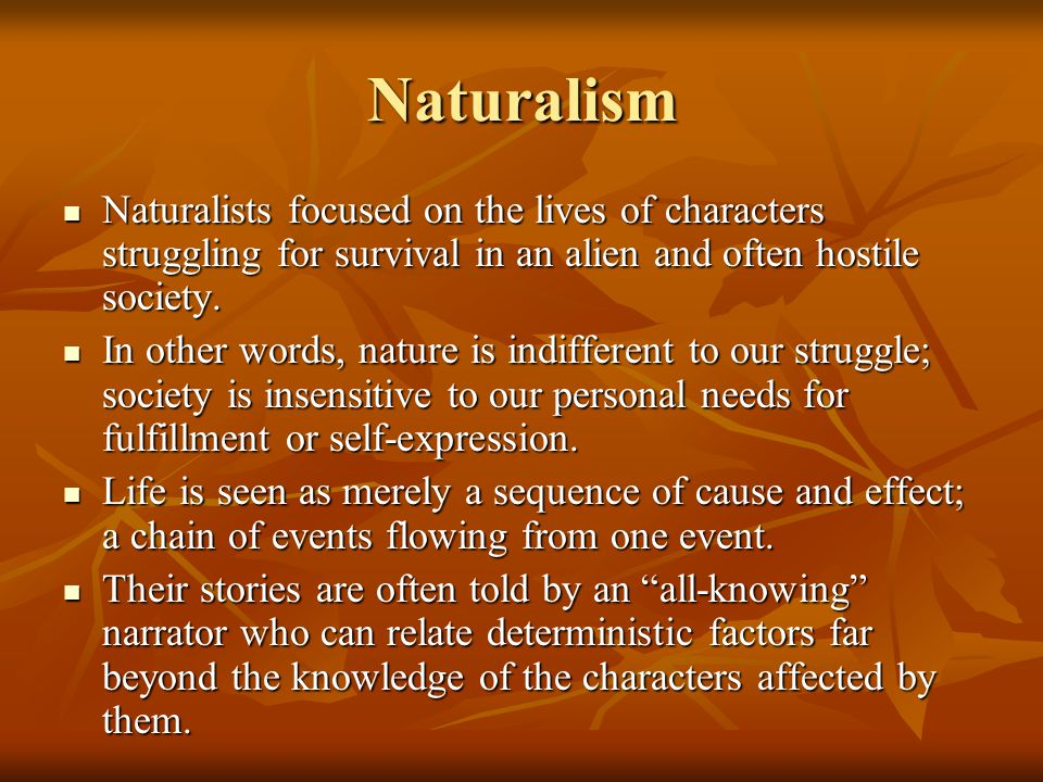 Naturalism Naturalists focused on the lives of characters struggling for survival in an alien and often hostile society.