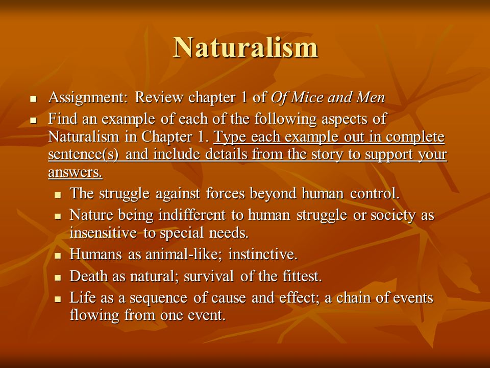 Naturalism Assignment: Review chapter 1 of Of Mice and Men