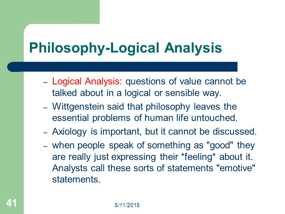 Philosophy-Logical Analysis