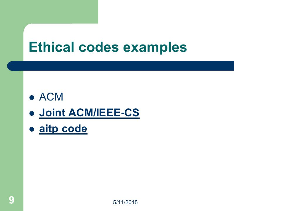 Ethical codes examples