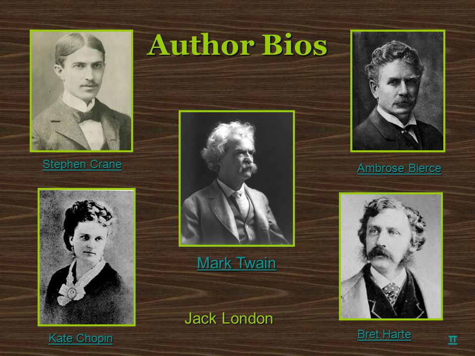 Author Bios Mark Twain Jack London Stephen Crane Ambrose Bierce