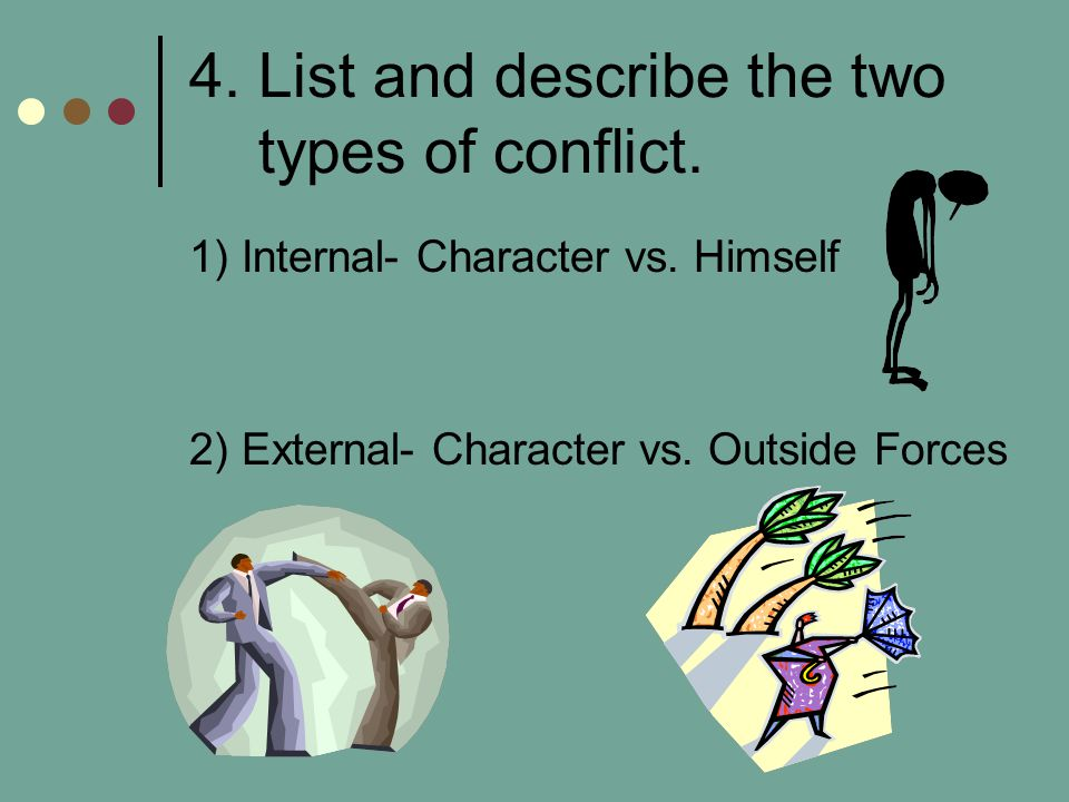 4. List and describe the two types of conflict.