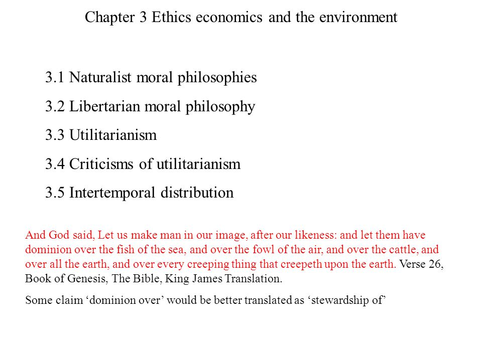 Chapter 3 Ethics economics and the environment