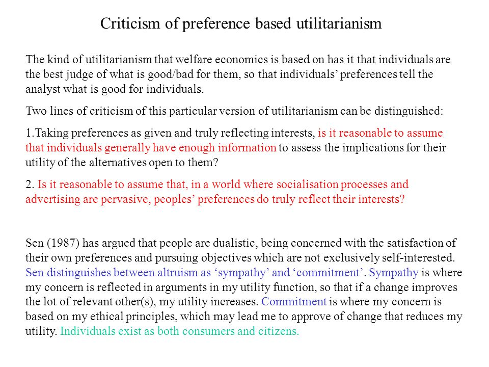 Criticism of preference based utilitarianism
