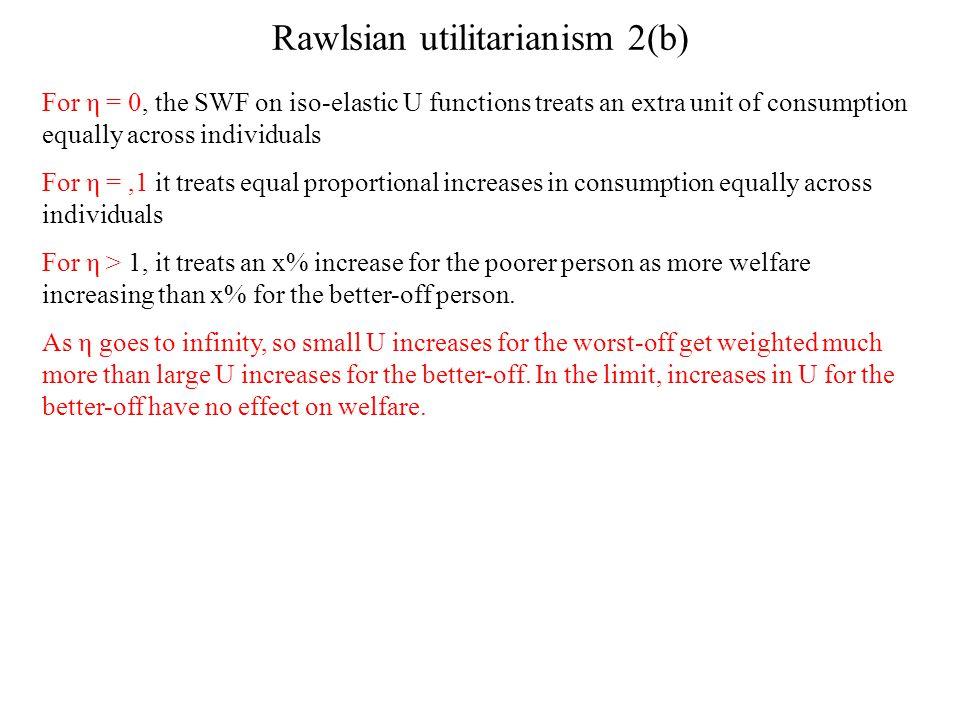 Rawlsian utilitarianism 2(b)