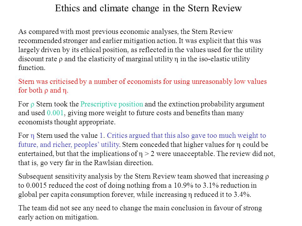 Ethics and climate change in the Stern Review