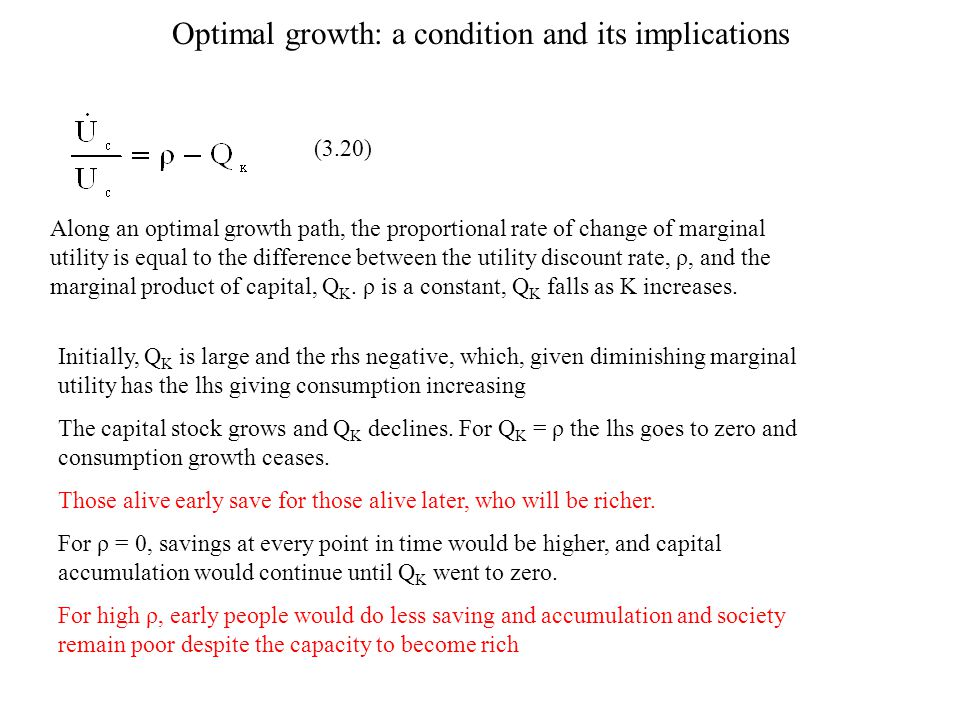Optimal growth: a condition and its implications