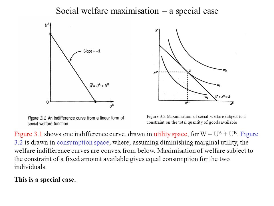 Social welfare maximisation – a special case