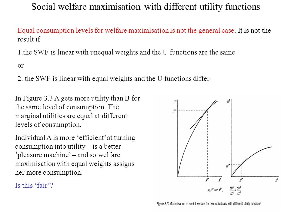 Social welfare maximisation with different utility functions