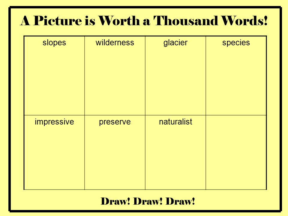 Writing a word picture for glaciers