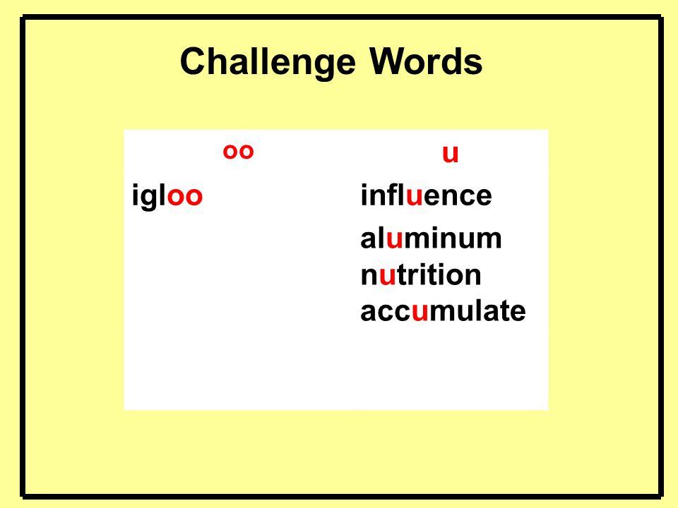 Challenge Words oo u igloo influence aluminum nutrition accumulate 5