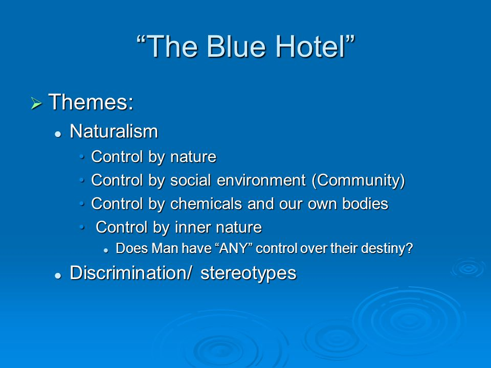 The Blue Hotel Themes: Naturalism Discrimination/ stereotypes