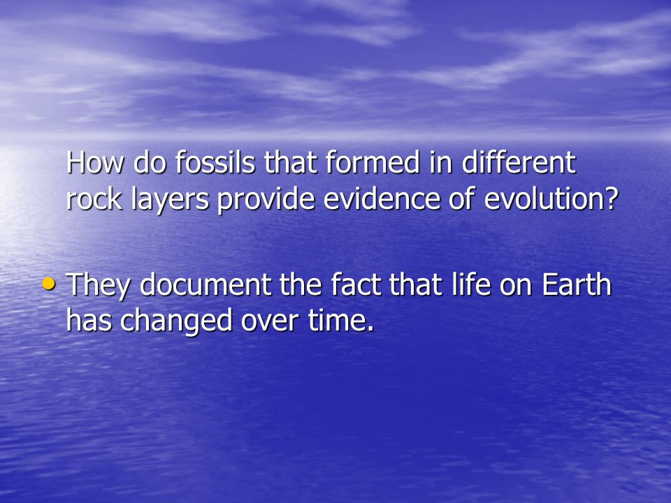 How do fossils that formed in different rock layers provide evidence of evolution