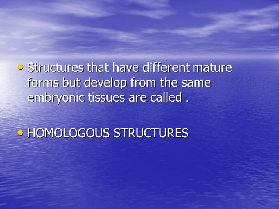 Structures that have different mature forms but develop from the same embryonic tissues are called .
