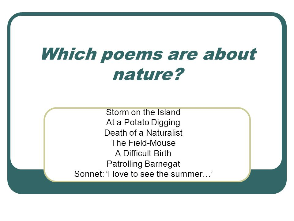 Which poems are about nature
