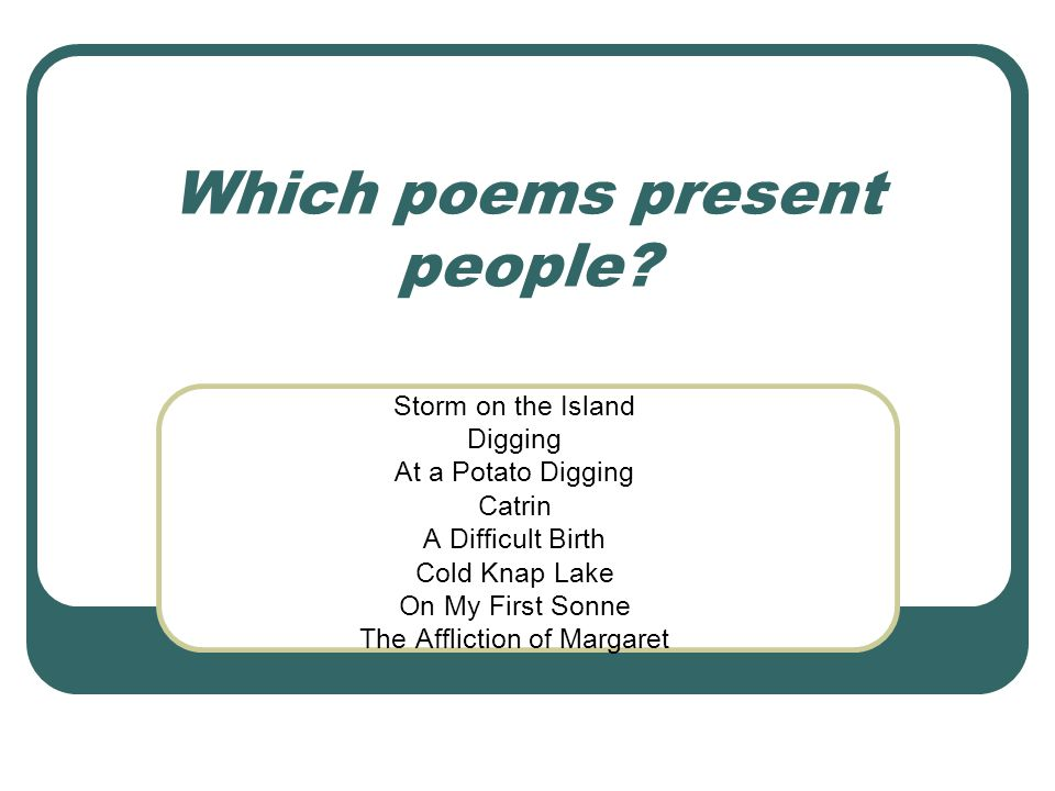Which poems present people