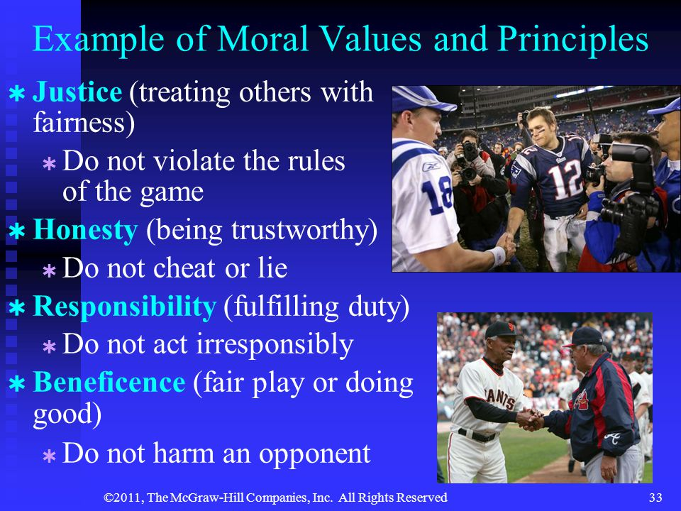 Example of Moral Values and Principles