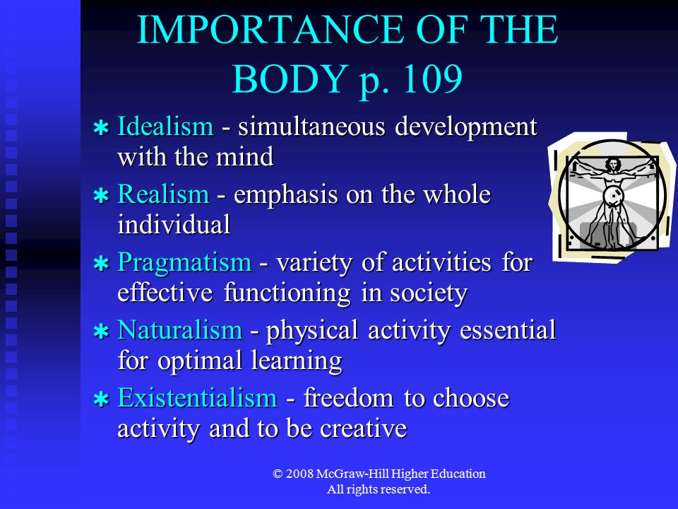 IMPORTANCE OF THE BODY p. 109