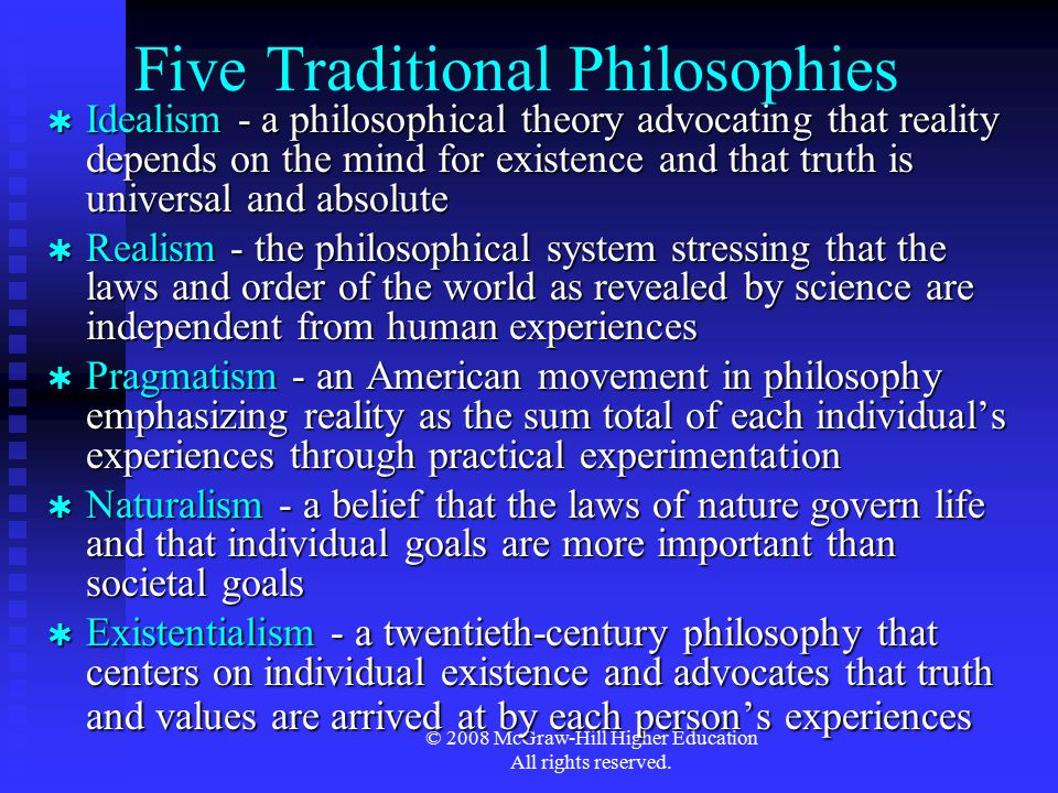 Five Traditional Philosophies