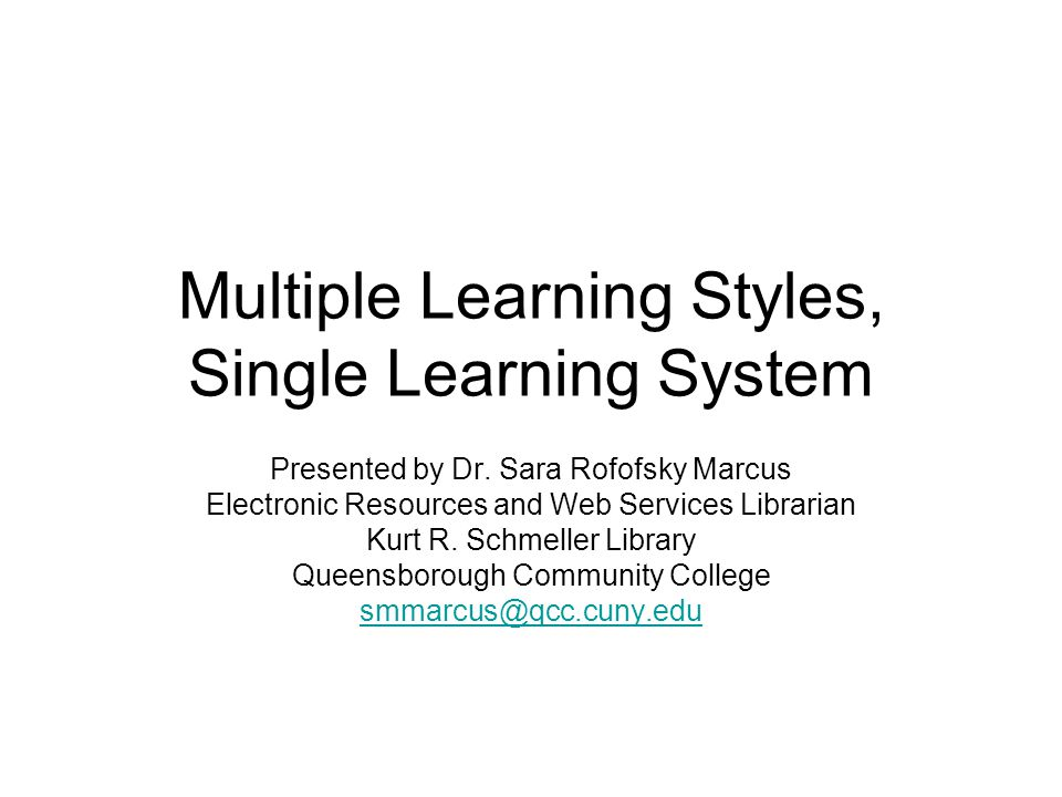 Multiple Learning Styles, Single Learning System
