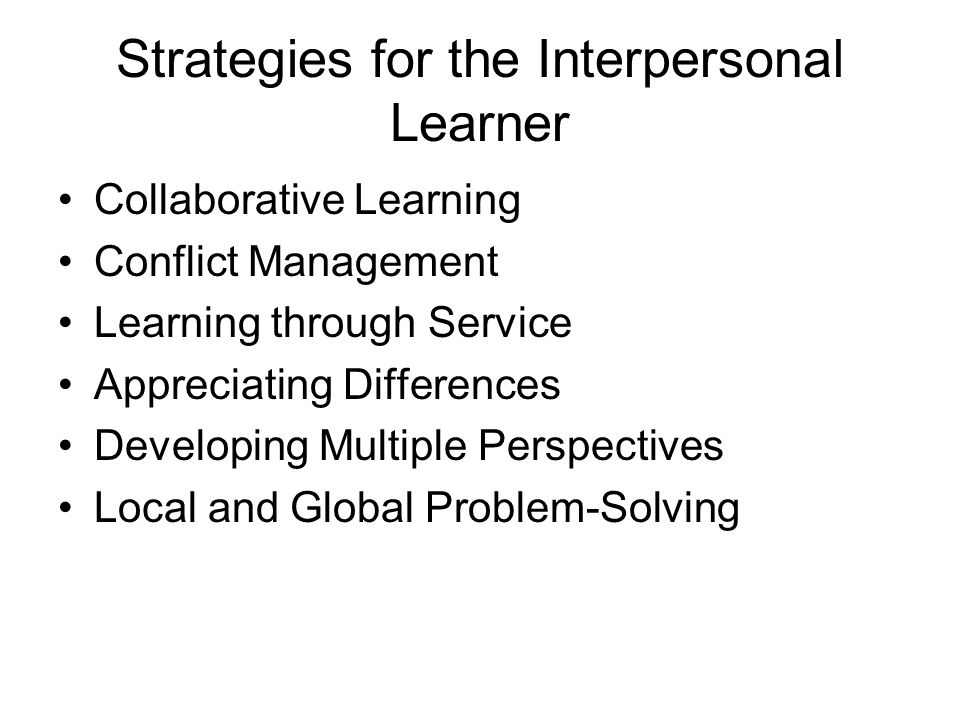 Strategies for the Interpersonal Learner