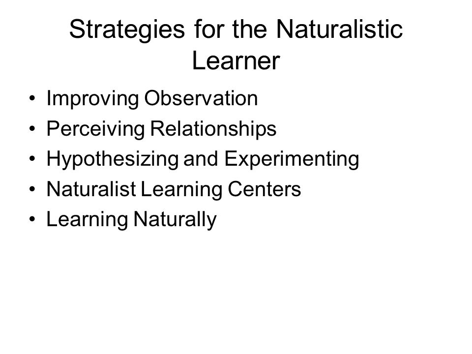 Strategies for the Naturalistic Learner