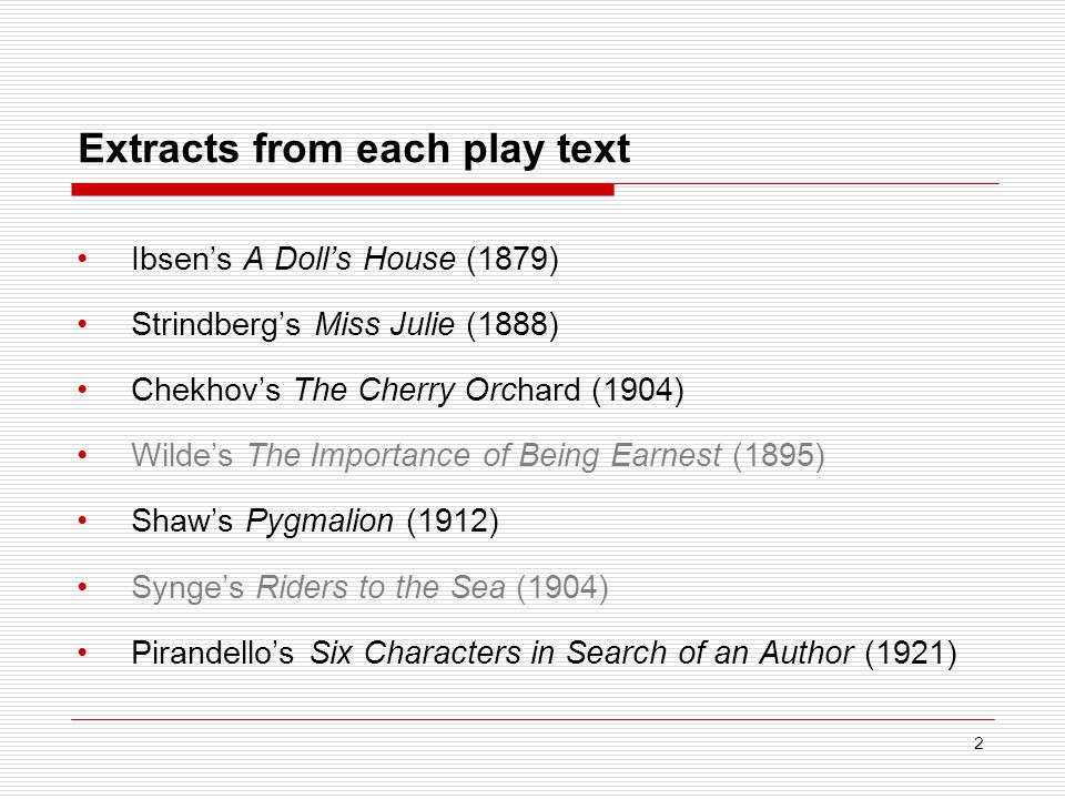 Extracts from each play text