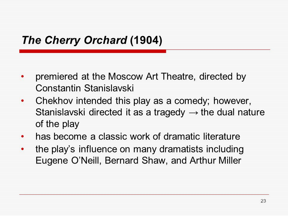 The Cherry Orchard (1904) premiered at the Moscow Art Theatre, directed by Constantin Stanislavski.