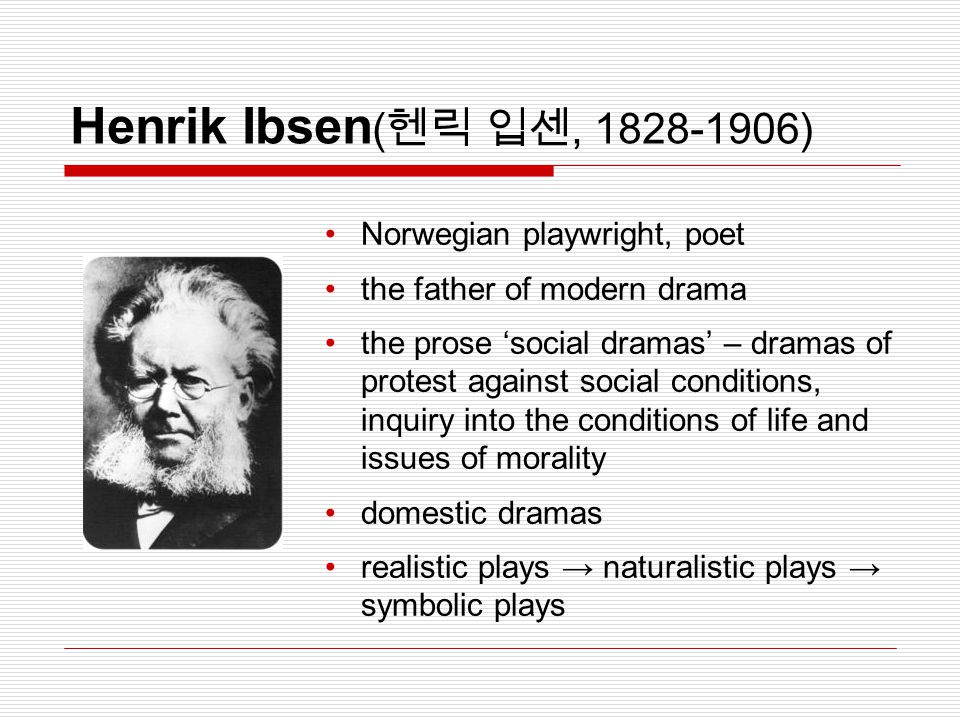 Henrik Ibsen(헨릭 입센, 1828-1906) Norwegian playwright, poet