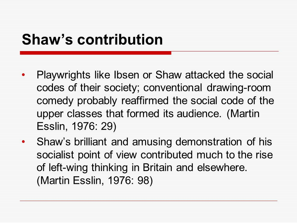 Shaw's contribution