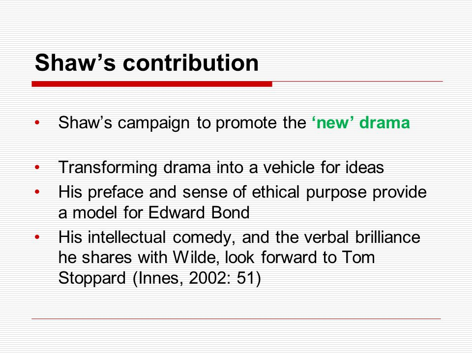 Shaw's contribution Shaw's campaign to promote the 'new' drama