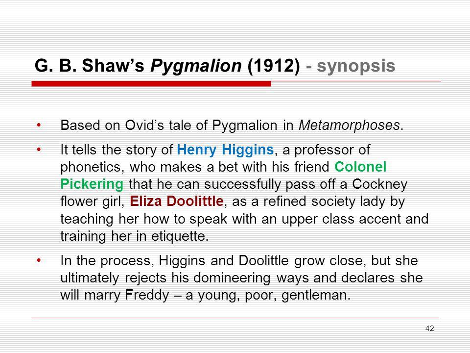 G. B. Shaw's Pygmalion (1912) - synopsis