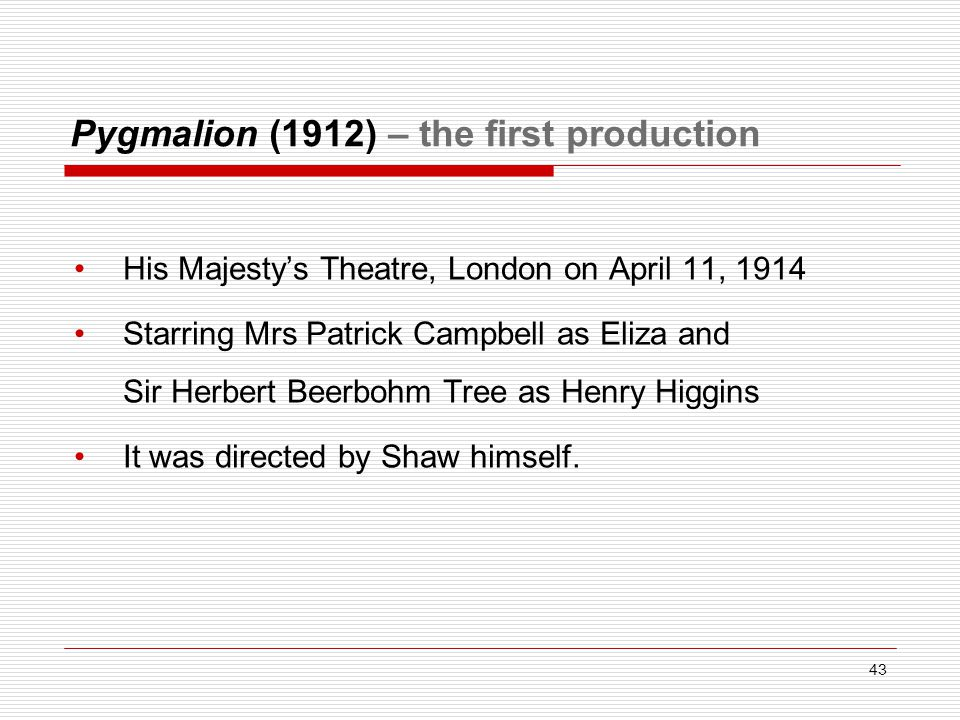 Pygmalion (1912) – the first production