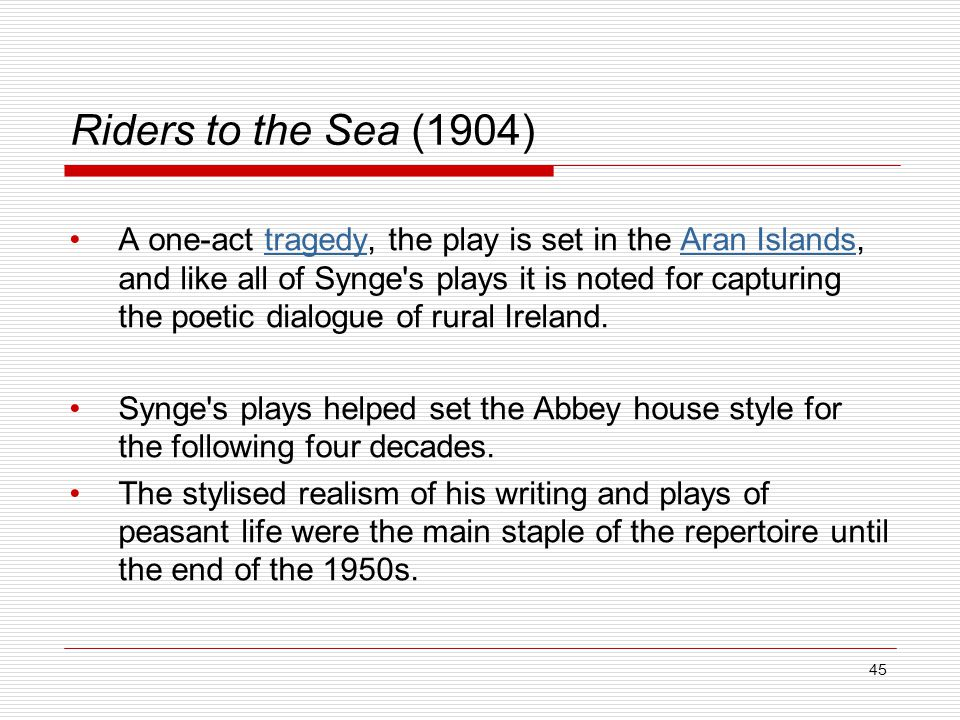 essay about rider to the sea Essays and criticism on j m synge's riders to the sea - critical evaluation.