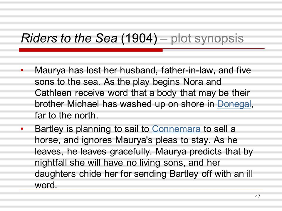 Riders to the Sea (1904) – plot synopsis