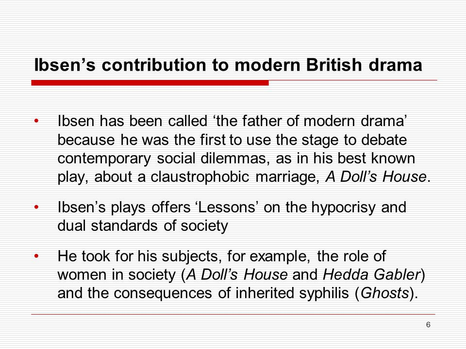 herik ibsen father of modern drama Struggling with the themes of henrik ibsen's a doll's house  nora of a doll's house has often been painted as one of modern drama's first feminist heroines.