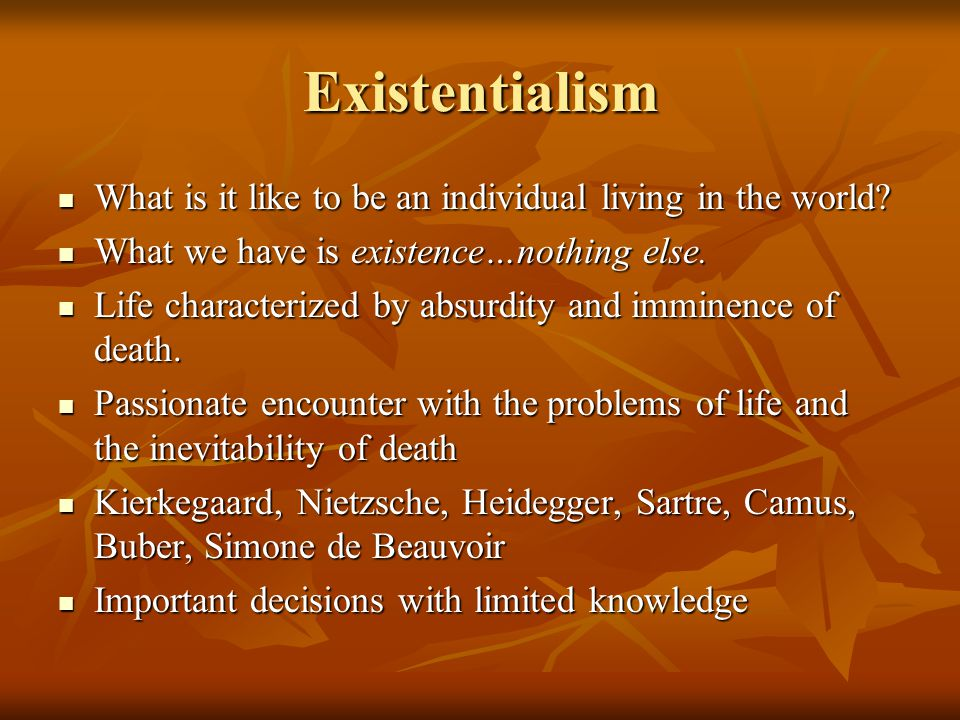 Existentialism What is it like to be an individual living in the world What we have is existence…nothing else.