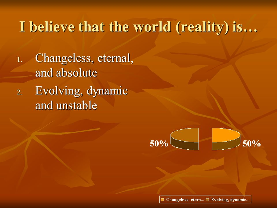 I believe that the world (reality) is…
