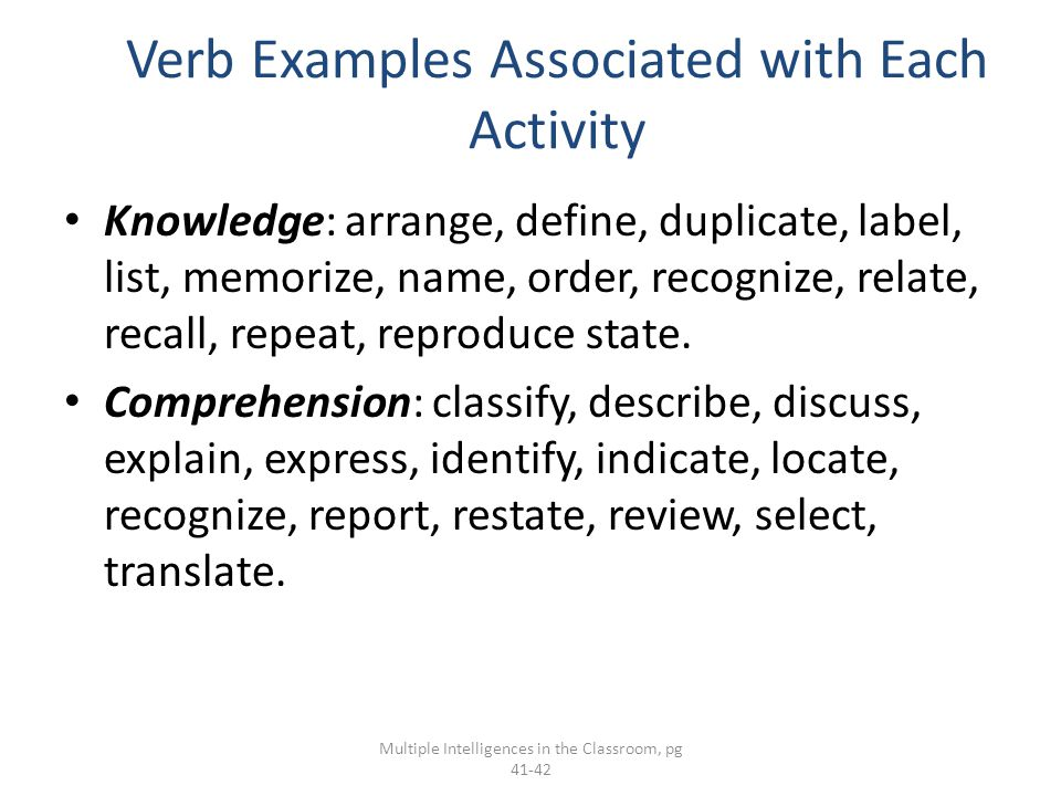 Verb Examples Associated with Each Activity