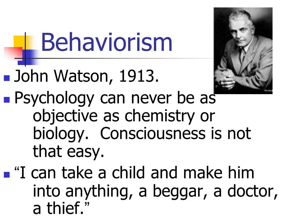 Behaviorism John Watson, 1913.